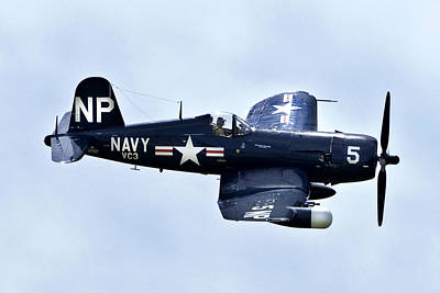 Corsair In Flight Poster by Greg Fortier