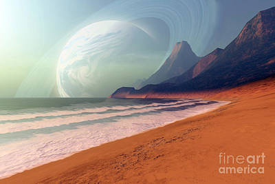 Cosmic Seascape On An Alien Planet Poster by Corey Ford