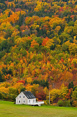 Cottage In Front Of Autumn Colours Poster