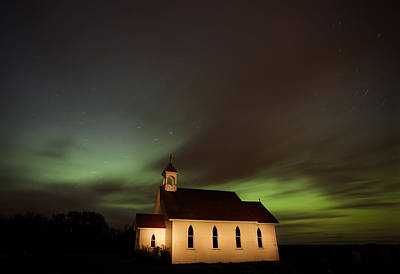 Country Church Night Photography Poster