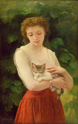 Country Girl And Her Kitten Poster