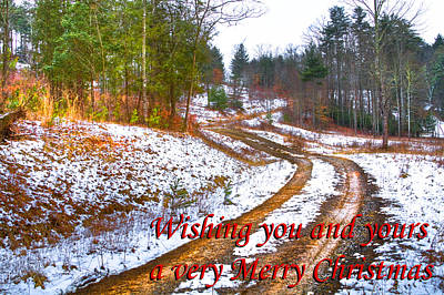 Country Lane Holiday Card Poster by Debra and Dave Vanderlaan
