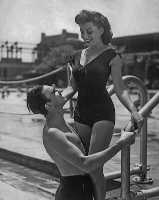 Couple At The Pool Poster by Fpg