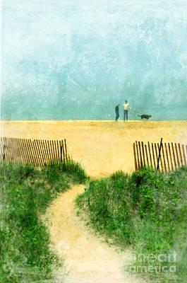 Couple Walking Dog On Beach Poster by Jill Battaglia