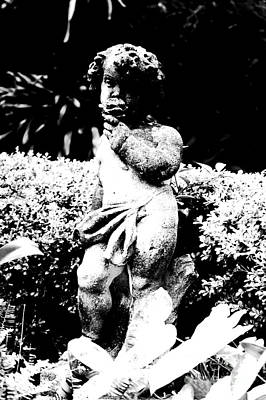 Courtyard Statue Of A Cherub French Quarter New Orleans Black And White Conte Crayon Digital Art Poster by Shawn O'Brien