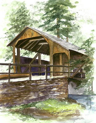 Poster featuring the painting Covered Bridge At Knoebels  by Nancy Patterson
