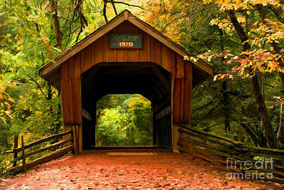 Covered Bridge Waupaca Wisconsin Poster by JohnD Smith