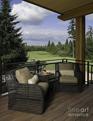 Covered Deck Overlooking Golf Course Poster