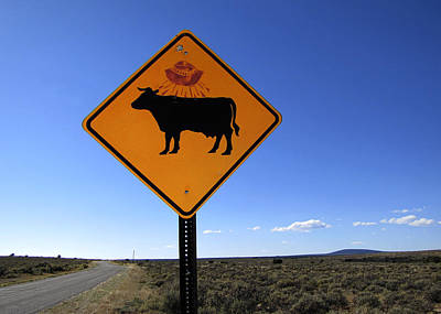 Cow Ufo Road Sign  Poster by Ann Powell
