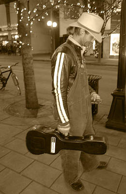 Cowboy Musician On Streets Poster by Kym Backland