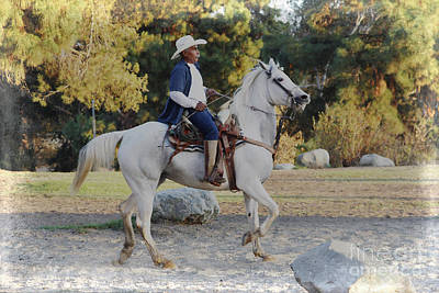 Cowboy On His White Horse Poster