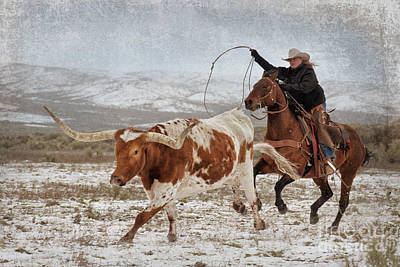 Cowgirl Roping Longhorn Poster