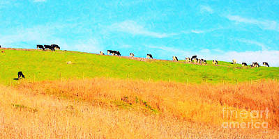 Cows On A Hill . 40d3430 . Painterly . Long Cut Poster by Wingsdomain Art and Photography