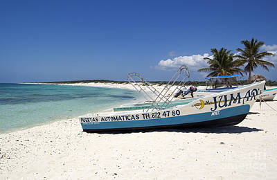 Poster featuring the photograph Cozumel Mexico Fishing Boats On White Sand Beach by Shawn O'Brien
