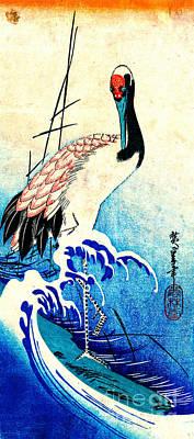 Crane Among Waves 1833 Poster by Padre Art