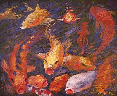 Poster featuring the painting Crazed Clear Creek Koi by Charles Munn