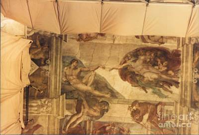 Creation Of Adam With Scaffolding Poster