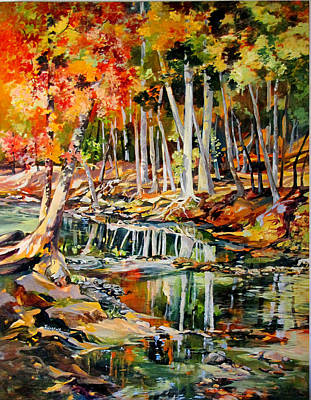 Poster featuring the painting Creekbed Fall Colors by Rae Andrews