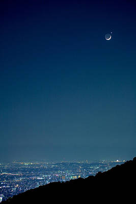 Crescent Moon And Venus Poster by Tomosang