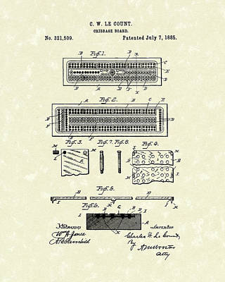 Cribbage Board 1885 Patent Art Poster by Prior Art Design