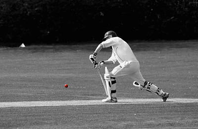 Cricketer In Black And White With Red Ball Poster