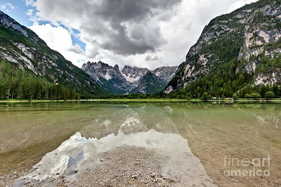 Poster featuring the photograph Cristallo Mountains Reflection Dolomites Northern Italy by Charles Lupica