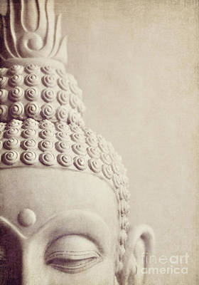 Cropped Stone Buddha Head Statue Poster