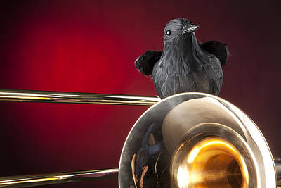 Crow And Trombone On Red Poster by M K  Miller