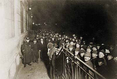 Crowd Of Men Outside The Municipal Poster by Everett
