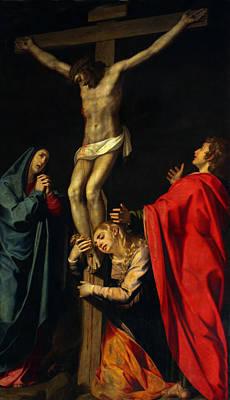 Crucification At Night Poster by Munir Alawi