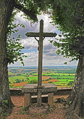 Poster featuring the photograph Crucifix Overlooking The French Countryside by Dave Mills