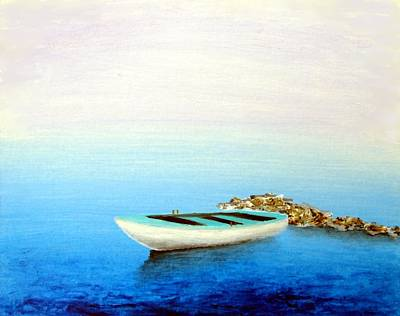 Poster featuring the painting Crystal Water Of The Mediterranean by Larry Cirigliano