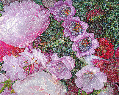 Crystallized Flowers - Digital Abstract Art Poster