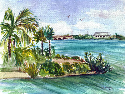 Poster featuring the painting Cudjoe Key Bridge by Clara Sue Beym