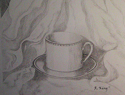 Poster featuring the drawing Cup And Saucer On Material by Roena King