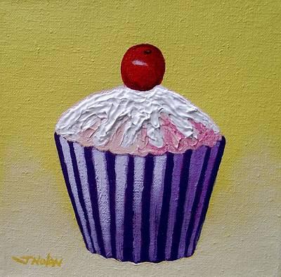Cupcake On Yellow Poster by John  Nolan