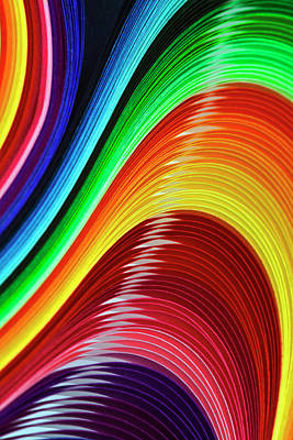 Curves Of Colored Paper Poster by Image by Catherine MacBride