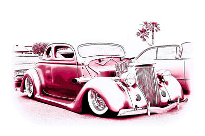 Custom 36 Ford Coupe Poster by Steve McKinzie