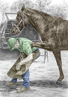 Poster featuring the drawing Custom Made - Farrier And Horse Print Color Tinted by Kelli Swan