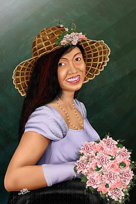 Cute Flower Girl Poster by Dumindu Shanaka