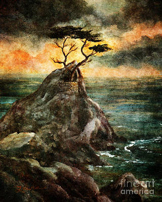 Cypress Tree In Storm Poster by Laura Iverson
