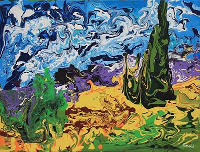 Cypress With Wheat Field After Van Gogh Poster