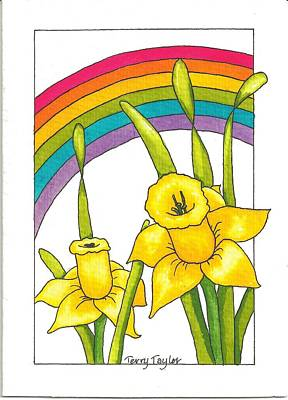 Poster featuring the painting Daffodils And Rainbows by Terry Taylor