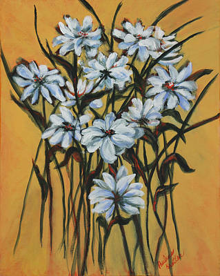 Poster featuring the painting Daisies by Pauline  Kretler