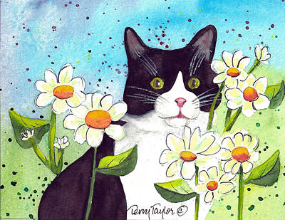 Poster featuring the painting Daisy M. Tuxedo by Terry Taylor
