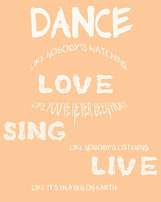 Dance Like Nobody's Watching - Peach Poster by Georgia Fowler