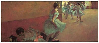 Dancers Climbing A Stair Poster by Edgar Degas