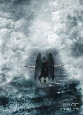 Dark Angel Kneeling On Stairway In The Clouds Poster by Jill Battaglia