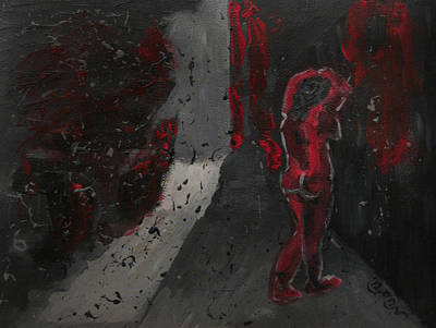 Poster featuring the painting Dark Raining Brooding Alley Chick by M Zimmerman