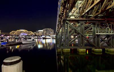 Darling Harbor At Night Poster by Douglas Barnard